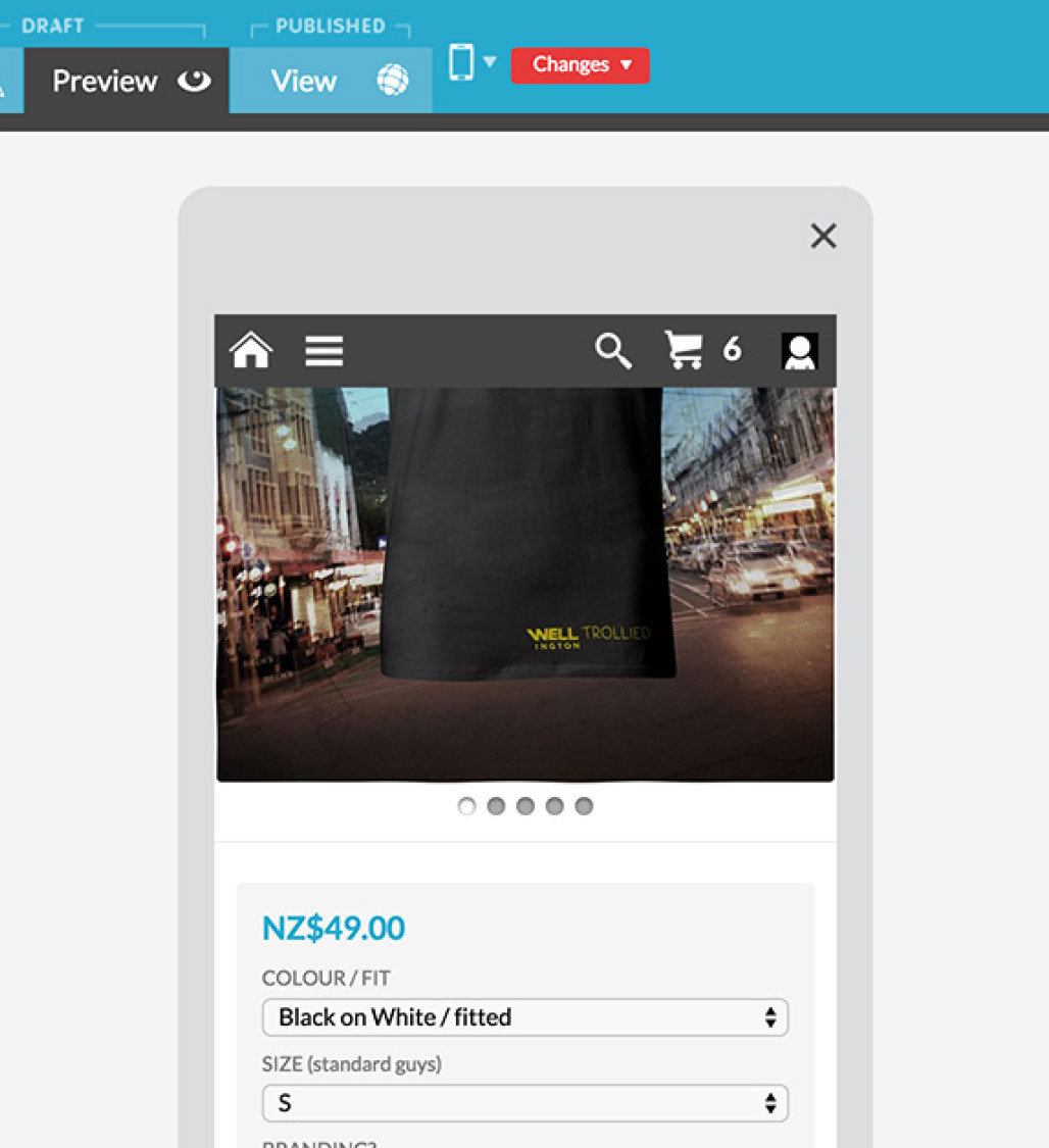 Customise your mobile ecommerce website