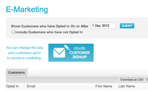 Email marketing integration